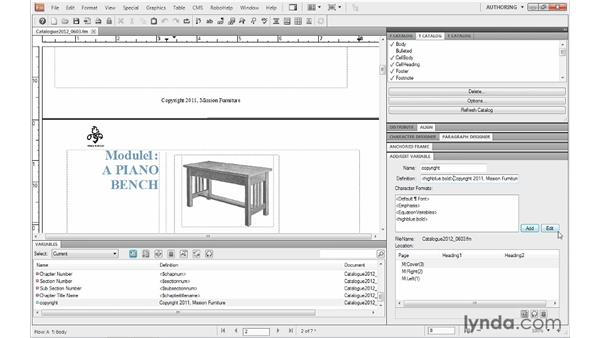 Changing variable definitions: FrameMaker 10 Essential Training