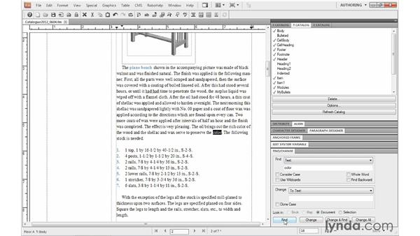 Finding and replacing text: FrameMaker 10 Essential Training