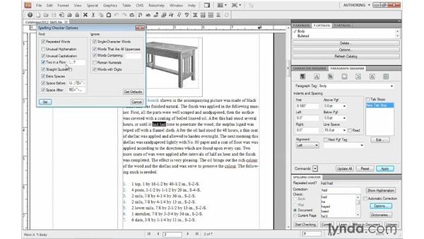 Checking spelling: FrameMaker 10 Essential Training