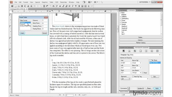 Inserting a table: FrameMaker 10 Essential Training