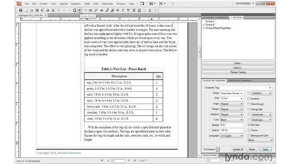 Rearranging rows and columns: FrameMaker 10 Essential Training