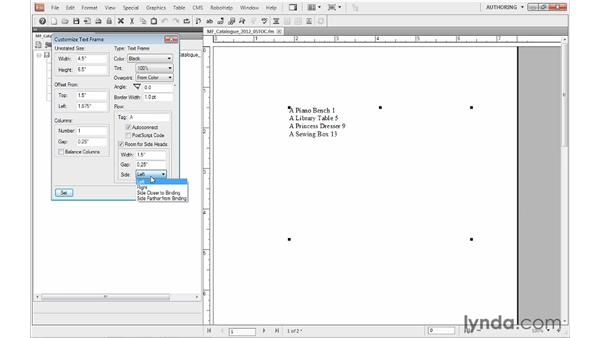 Modifying the layout of a TOC: FrameMaker 10 Essential Training