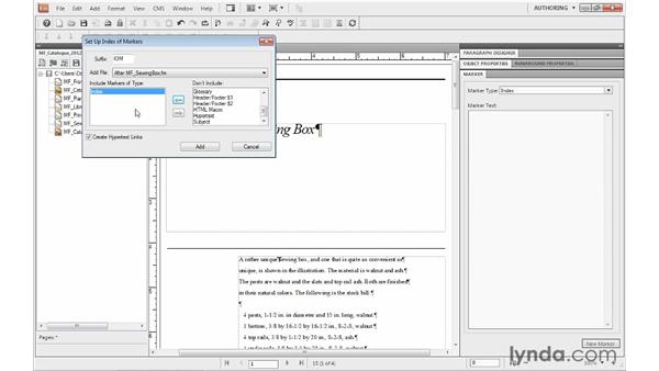 Adding an index to a book: FrameMaker 10 Essential Training