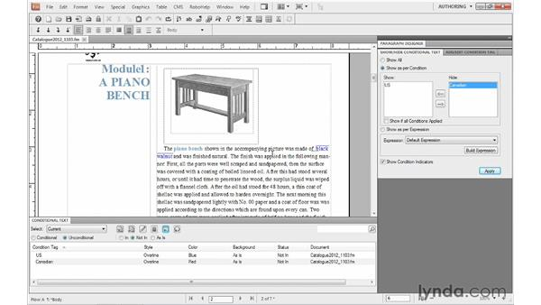 Viewing conditional documents: FrameMaker 10 Essential Training