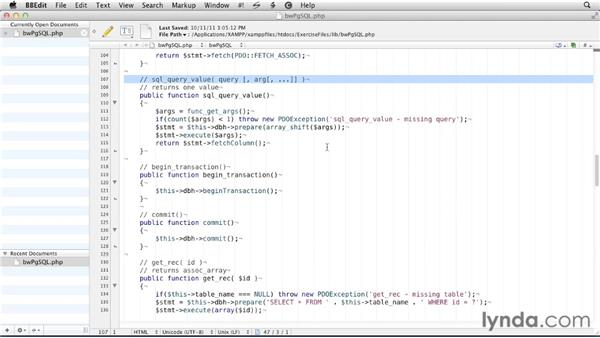 Creating a database library: PostgreSQL 9 with PHP Essential Training
