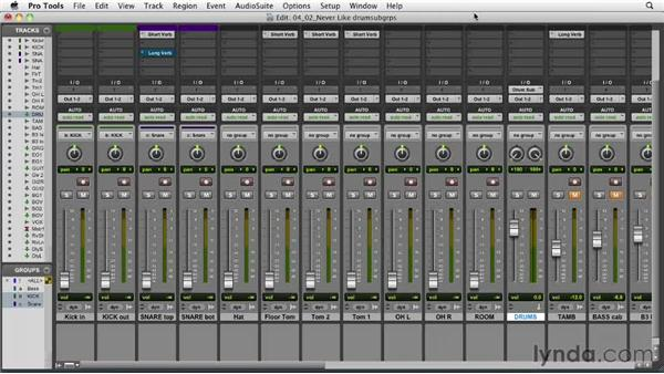Assigning the drums to a subgroup: Audio Mixing Bootcamp