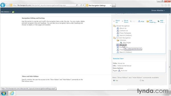 Editing navigation in sites with Publishing enabled: SharePoint Designer 2010: Branding SharePoint Sites