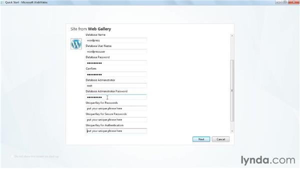 Installing the WordPress template: Up and Running with WebMatrix and ASP.NET