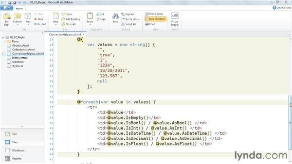 Exploring other helper methods: Up and Running with WebMatrix and ASP.NET