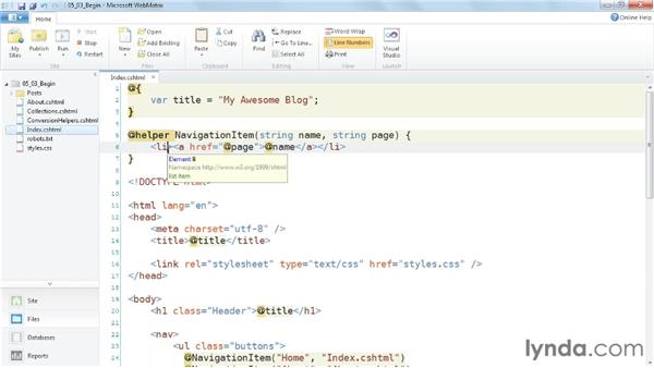Creating custom helper methods : Up and Running with WebMatrix and ASP.NET