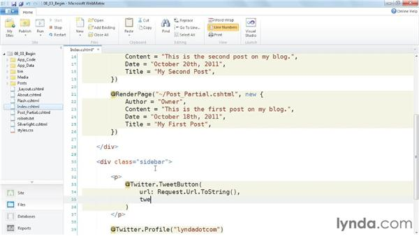 Integrating social media: Up and Running with WebMatrix and ASP.NET