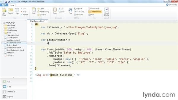 Displaying data with a chart: Up and Running with WebMatrix and ASP.NET