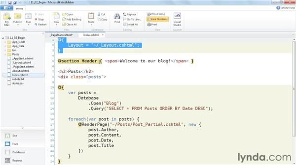 Executing code before every page: Up and Running with WebMatrix and ASP.NET