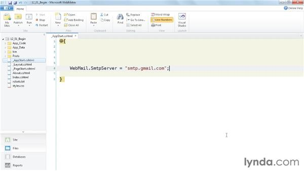 Configuring the email server: Up and Running with WebMatrix and ASP.NET