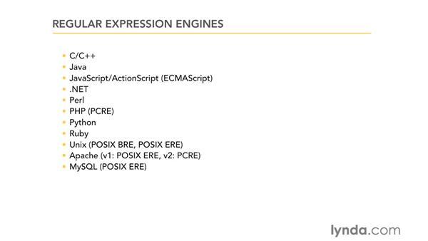 Regular expression engines: Using Regular Expressions