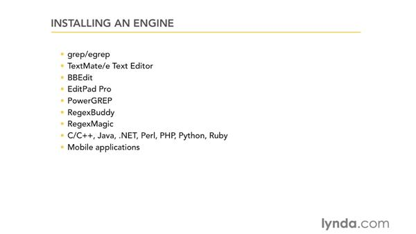 Installing an engine: Using Regular Expressions