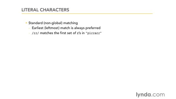 Literal characters: Using Regular Expressions