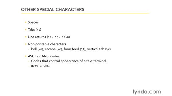 Other special characters: Using Regular Expressions