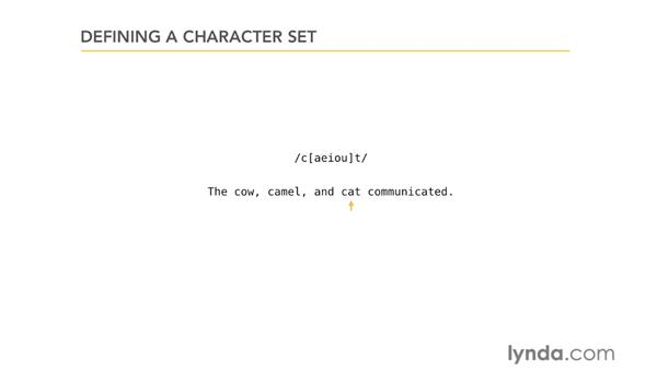 Defining a character set: Using Regular Expressions
