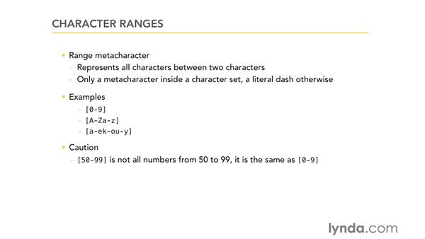 Character ranges: Using Regular Expressions