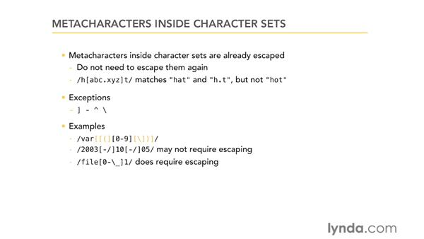 Metacharacters inside character sets: Using Regular Expressions