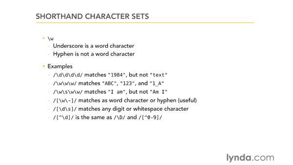 Shorthand character sets: Using Regular Expressions