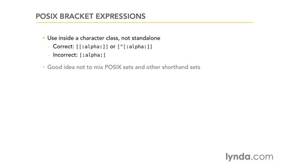 POSIX bracket expressions: Using Regular Expressions