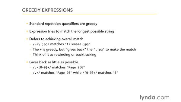 Greedy expressions: Using Regular Expressions