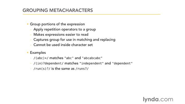 Grouping metacharacters: Using Regular Expressions