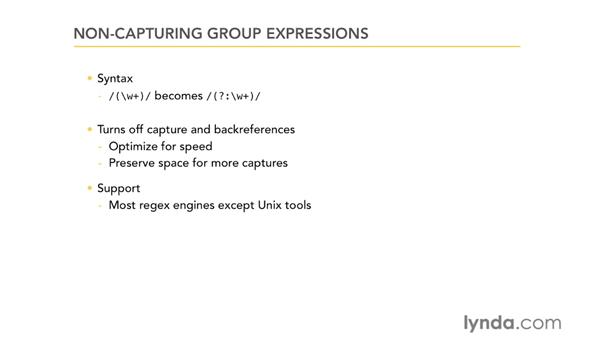 Non-capturing group expressions: Using Regular Expressions