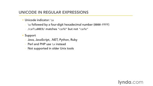 Unicode in regular expressions: Using Regular Expressions