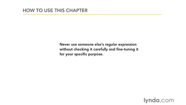 How to use this chapter: Using Regular Expressions