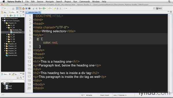 Writing a selector: CSS: Core Concepts