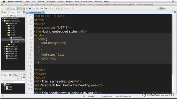 Embedded styles: CSS: Core Concepts