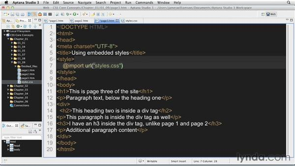 Using external style sheets: CSS: Core Concepts
