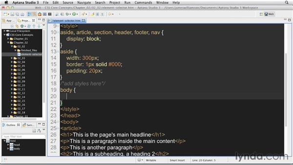 Element selectors: CSS: Core Concepts