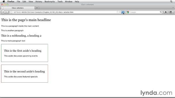 Class selectors: CSS: Core Concepts