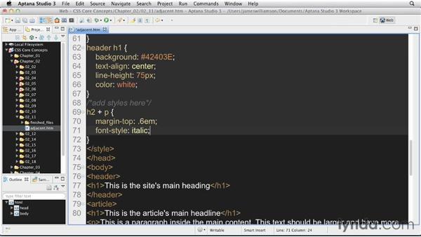 Adjacent selectors : CSS: Core Concepts
