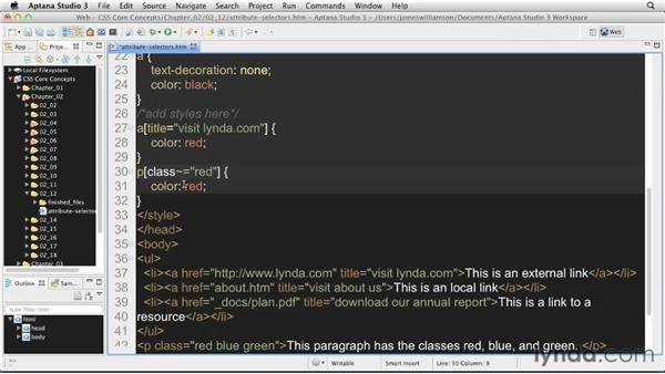 Attribute selectors: CSS: Core Concepts