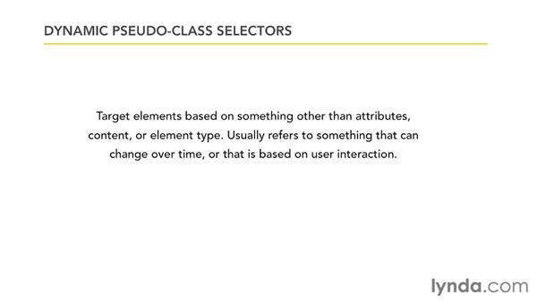 Pseudo-class selectors: CSS: Core Concepts