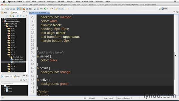 Dynamic pseudo-class selectors: CSS: Core Concepts