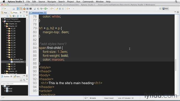 Structural pseudo-class selectors: CSS: Core Concepts
