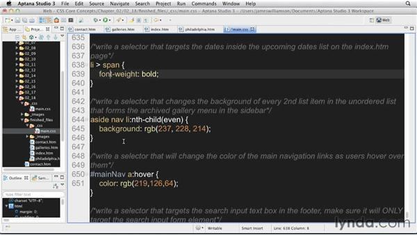 Targeting page content: Solution: CSS: Core Concepts