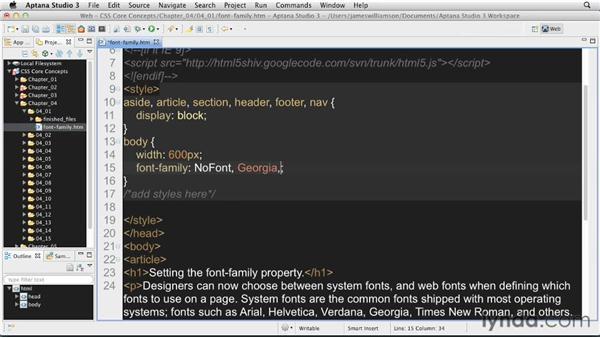 Setting a font family: CSS: Core Concepts
