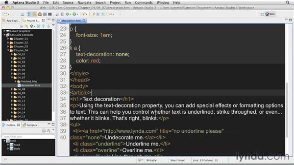 Text decoration options: CSS: Core Concepts