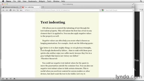 Indenting text: CSS: Core Concepts