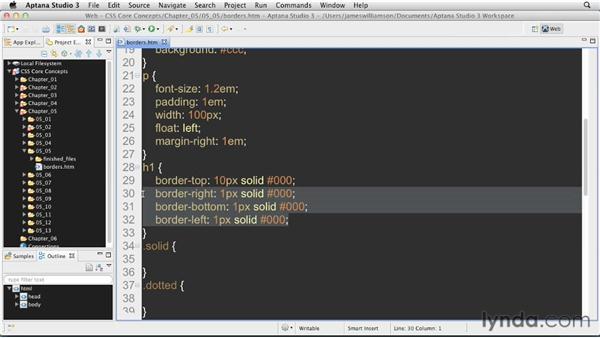 Adding borders: CSS: Core Concepts