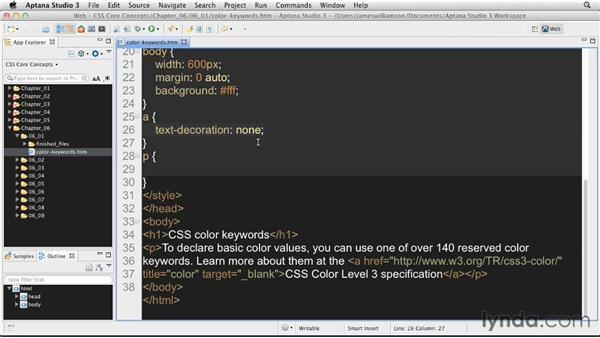 Color keyword definitions: CSS: Core Concepts