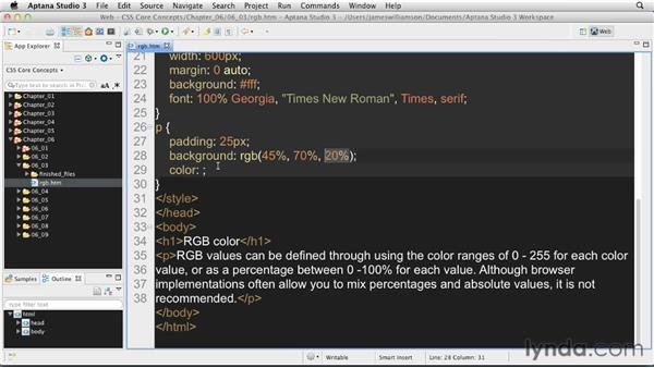 Using RGB values: CSS: Core Concepts