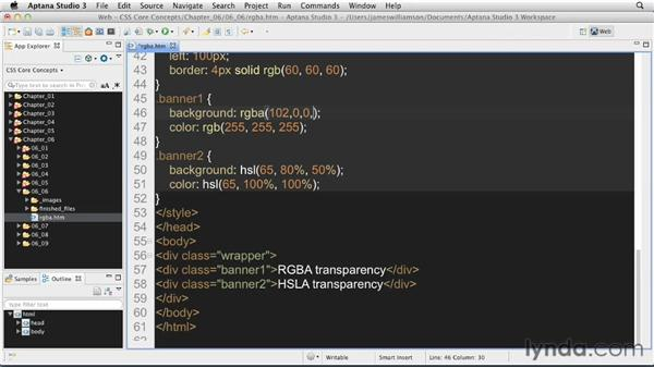 Using RGBa and HSLa: CSS: Core Concepts